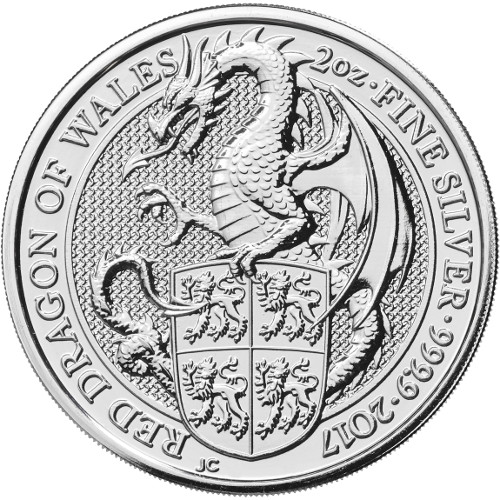 2017 2 oz British Silver Queen's Beast Dragon Coin